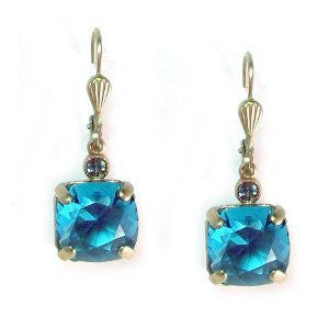 Catherine Popesco Crystal Square Cut Teal Earrings