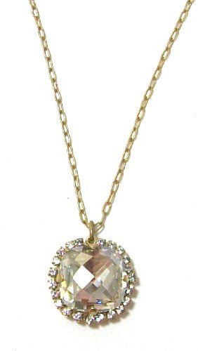"Catherine Popesco Gold Plated Square Pillow Cut Clear Swarovski Crystal Pendant Necklace, 16+2"" Extender"
