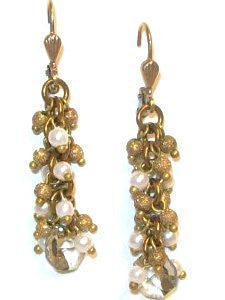 Catherine Popesco Gold Plated Fringe Bead Dangle Earrings with Shimmer Beads and a Clear Swarovski Crystal