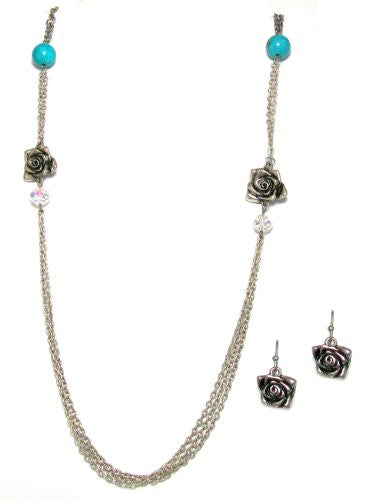 Just Give Me Jewels Silvertone Chain Necklace with Matching Rose Earrings