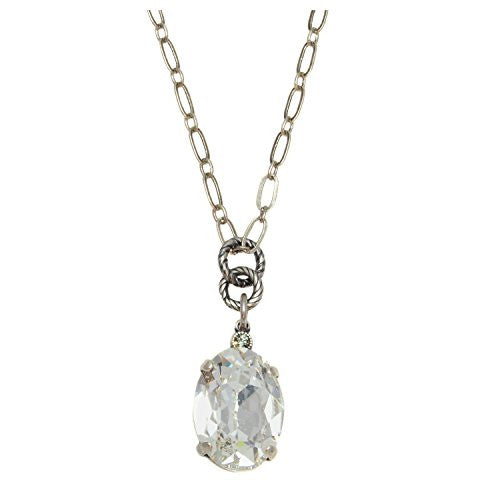 "Catherine Popesco Silver Plated Pendant Necklace with Clear Oval Swarovski Crystal, 16+2"" Extender"