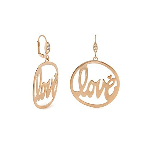 "Lauren G Adams Rose Gold Plated ""Love Rocks"" Cut-Out Round Dangle Leverback Earrings"