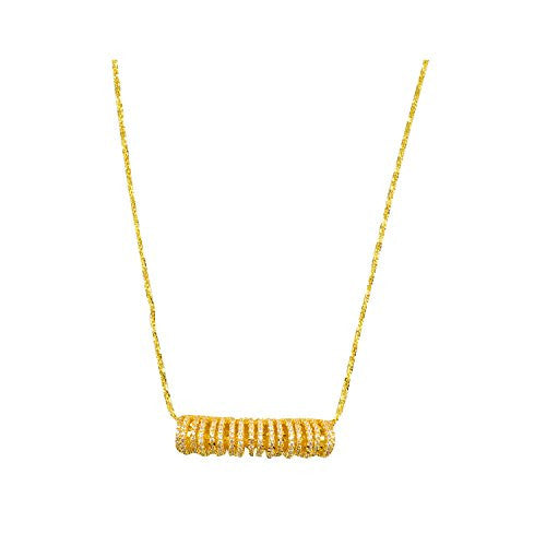 Gold Plated Decorative Chain with Cubic Zirconia Pave Slide Bar Pendant Necklace, 18""
