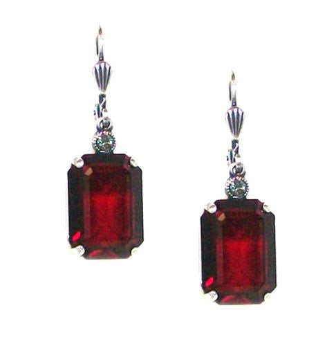 Catherine Popesco Silver Plated Siam Red Swarovski Crystal Dangle Earrings