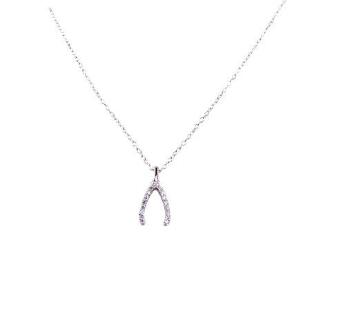 "Sterling Silver Plated ""Wishbone"" Necklace with Clear Crystals, 16+1 1/2"" Extender"
