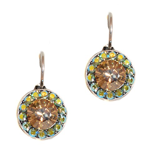 Mariana Antique Silver Plated Petite Round Drop Earrings with Swarovski Crystals (Goldfinger) - 1129-1002