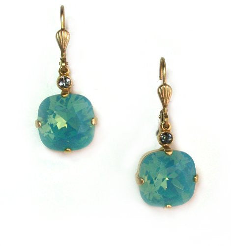 Catherine Popesco Gold Plated Square-cut Pacific Blue Swarovski Crystal Dangle Earrings