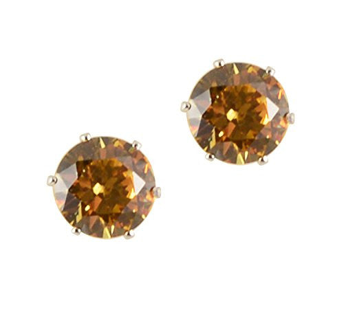 Silver Plated Golden Yellow Crystal 6 Prong 8mm Post/Stud Earrings