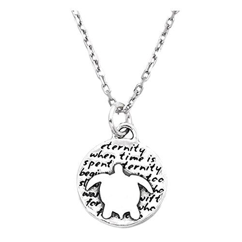 "Kevin N Anna Sterling Silver SMALL Etched ""Turtle"" Pendant Necklace (Celebrates ETERNITY), 16"""