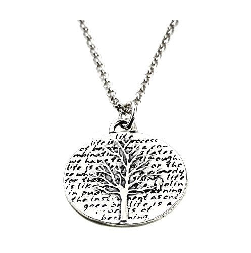 "Kevin N Anna Sterling Silver LARGE Etched ""Tree of Life"" Pendant Necklace (Celebrates LIFE), 18"""