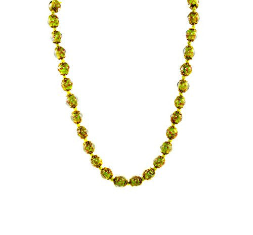 "Genuine Venice Murano Sommerso Aventurina Glass Bead Long Strand Necklace in Pale Green, 26+2"" Extender"