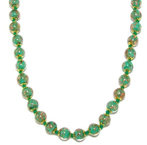 "Genuine Venice Murano Sommerso Aventurina Glass Bead Strand Necklace in Green, 18+2"" Extender"