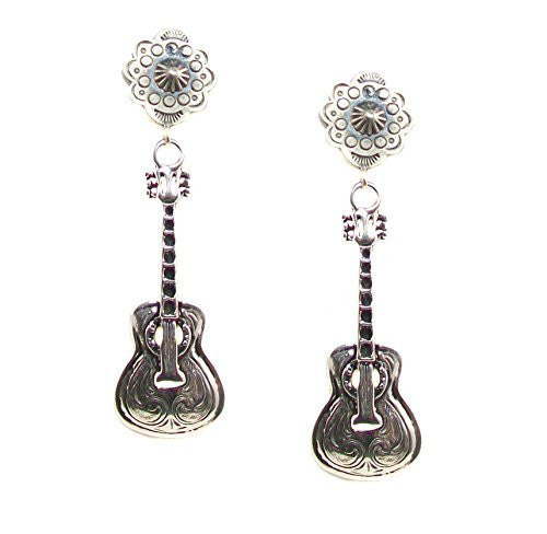 Vintage Revival's Silver Plated Guitar Post Dangle Earrings