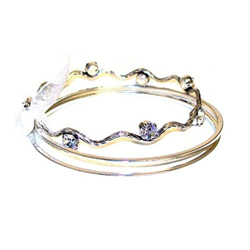 Just Give Me Jewels Silvertone 3 Bangle Set with Rhinestones