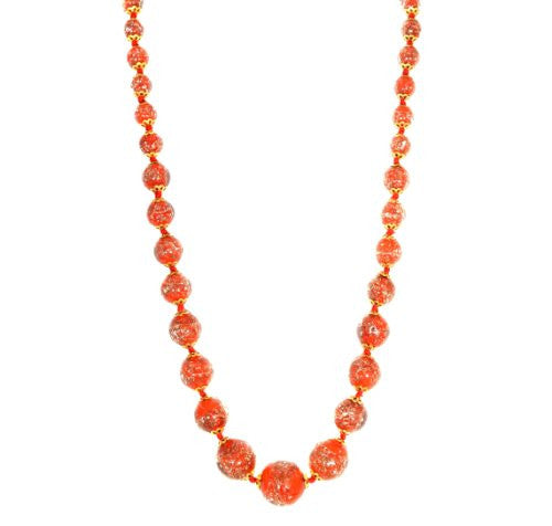 "Genuine Venice Graduated Murano Sommerso Aventurina Glass Bead Strand Necklace in Red, 20+2"" Extender"