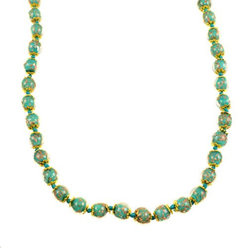 "Genuine Venice Murano Sommerso Aventurina Glass Bead Long Strand Necklace in Teal, 26+2"" Extender"