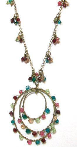 Just Give Me Jewels Goldtone Multi-colored Wire Wrapped Beaded Pendant Necklace, 17+2