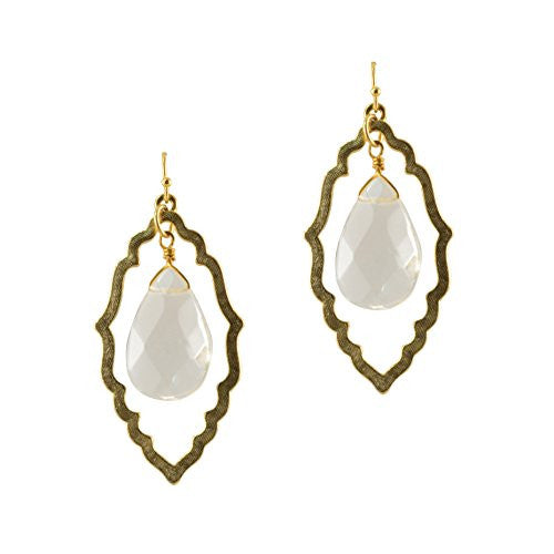Susan Shaw Gold Plated Handcast Cut-Out with Clear Faceted Stone Dangle Earrings