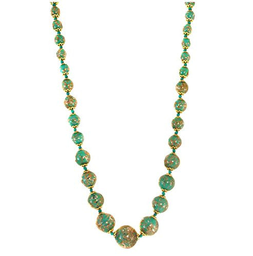 "Genuine Venice Graduated Murano Sommerso Aventurina Glass Bead Strand Necklace in Teal, 20+2"" Extender"