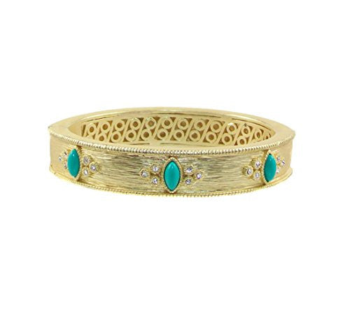Just Give Me Jewels Matte Goldtone Magnetic Bangle Bracelet with Faux Turquoise and Crystal Accents