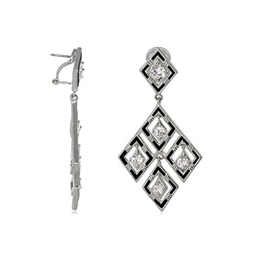 "Lauren G Adams ""Eye For An Eye"" Design Rhodium Plated Enamel and CZ Long Dangle Earrings"
