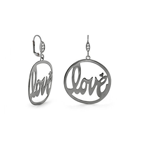 "Lauren G Adams Ruthenium Plated ""Love Rocks"" Cut-Out Round Dangle Leverback Earrings"
