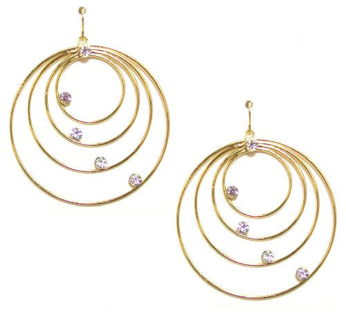 Just Give Me Jewels Goldtone Cascading Open Circle Dangle Earrings with Rhinestone Accents