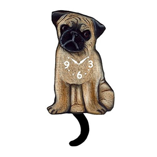 Pink Cloud Pug Pendulum Wall Clock