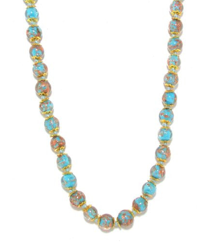 Genuine Venice Murano Sommerso Aventurina Glass Bead Long Strand Necklace in Turquoise, 26+2
