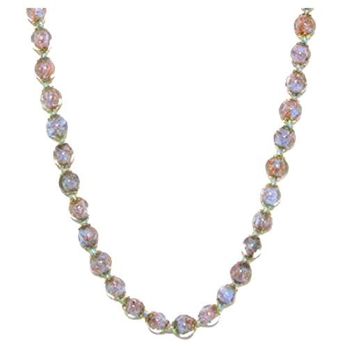 "Genuine Venice Murano Sommerso Aventurina Glass Bead Long Strand Necklace in Light Blue, 26+2"" Extender"