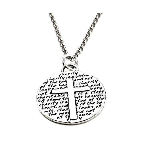 "Kevin N Anna Sterling Silver LARGE Etched ""Cross"" Pendant Necklace (CHARITY Quote), 18"""