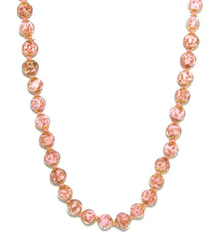"Genuine Venice Murano Sommerso Aventurina Glass Bead Strand Necklace in Pink, 18+2"" Extender"