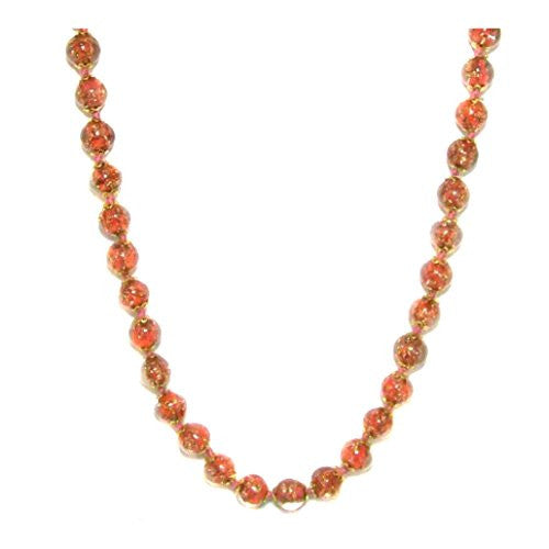 "Genuine Venice Murano Sommerso Aventurina Glass Bead Long Strand Necklace in Orange, 26+2"" Extender"