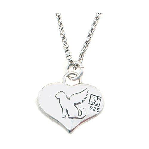 "Kevin N Anna Sterling Silver ""Angel Dog"" Memorial Charm Necklace, 16"""