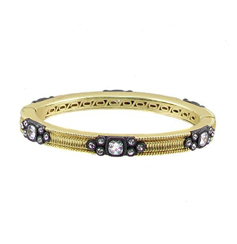 Just Give Me Jewels Matte Goldtone Magnetic Bangle Bracelet with Crystal and Black Metal Plated Accents