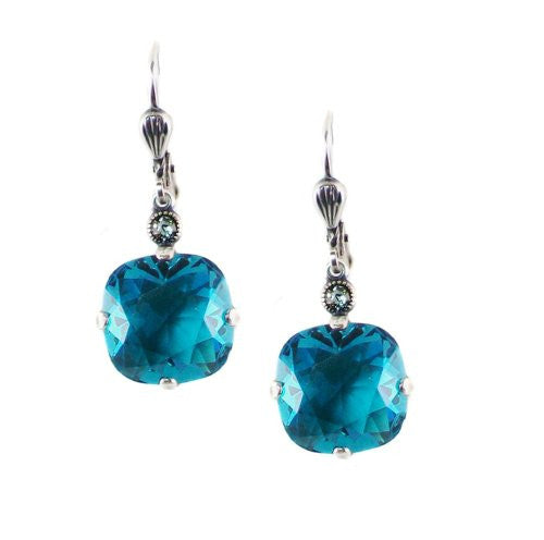 Catherine Popesco Silver Plated Square Teal Swarovski Crystal Dangle Earrings