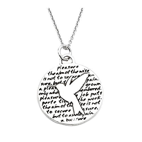 "Kevin N Anna Sterling Silver LARGE Etched ""Hummingbird"" Pendant Necklace (PLEASURE Quote), 18"""