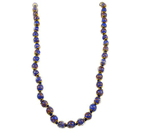 Genuine Venice Murano Sommerso Aventurina Glass Bead Long Strand Necklace in Blue, 26+2