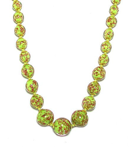 Genuine Venice Graduated Murano Sommerso Aventurina Glass Bead Strand Necklace in Lime, 20+2