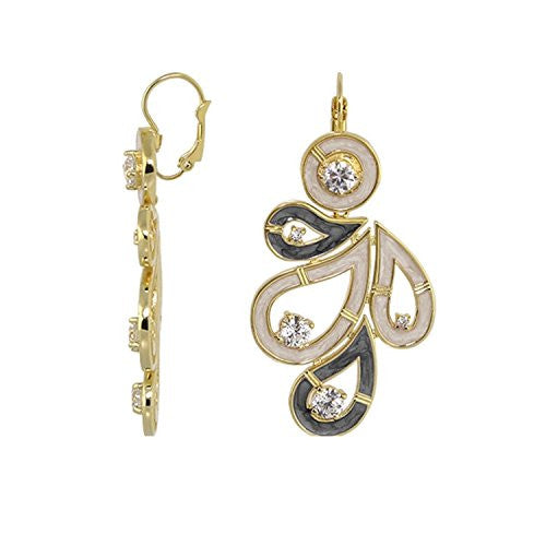 "Lauren G Adams ""Eye For An Eye"" Design Gold Plated Enamel and CZ Dangle Earrings"