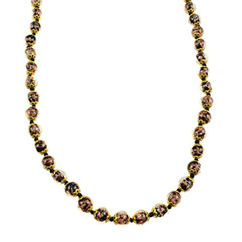 "Genuine Venice Murano Sommerso Aventurina Glass Bead Long Strand Necklace in Black, 26+2"" Extender"