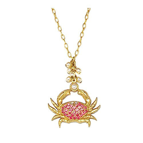 Catherine Popesco Gold Plated Crab Pendant Necklace with Red Swarovski Crystals, 17""