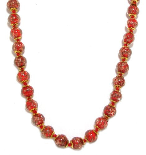 "Genuine Venice Murano Sommerso Aventurina Glass Bead Long Strand Necklace in Red, 26+2"" Extender"