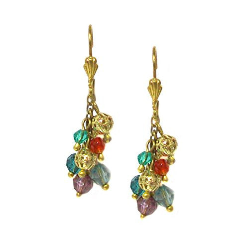Just Give Me Jewels Goldtone Analise Multi-colored Beaded Cluster Earrings