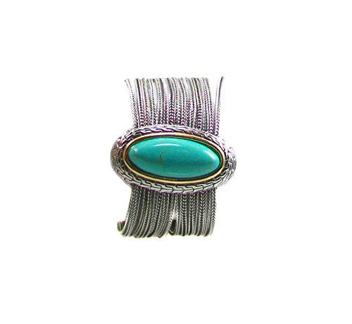 Just Give Me Jewels Silver Plated Multi-strand Magnetic Bracelet with Large Faux Turquoise Center Pendant, 7.75""