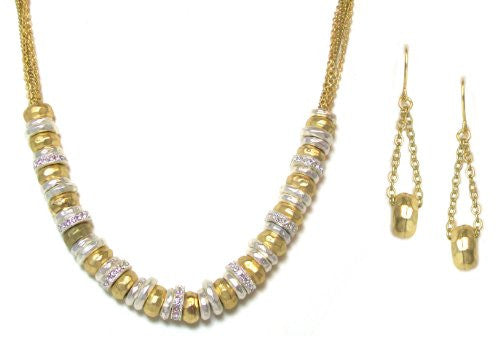 Just Give Me Jewels Goldtone and Silvertone Necklace and Earrings Set