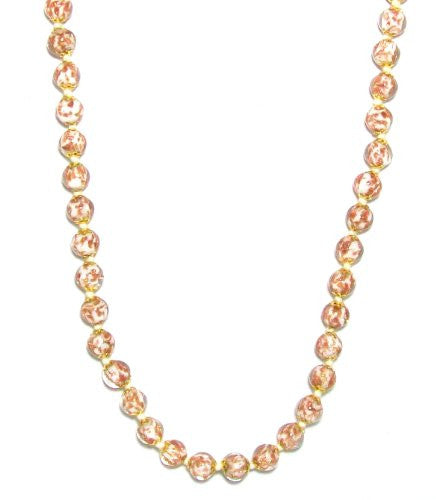 "Genuine Venice Murano Sommerso Aventurina Glass Bead Strand Necklace in White, 18+2"" Extender"
