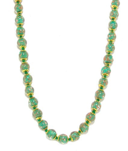 Genuine Venice Murano Sommerso Aventurina Glass Bead Long Strand Necklace in Green, 26+2