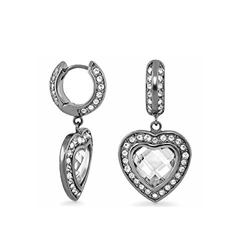 Lauren G Adams Ruthenium Plated Classic CZ Heart Charm Dangle Earrings