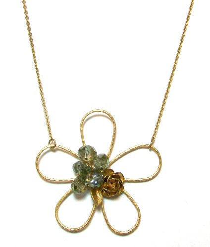 "Just Give Me Jewels Goldtone Dainty Crystal and Rose Charm Flower Pendant Necklace, 16+2"" Extender"
